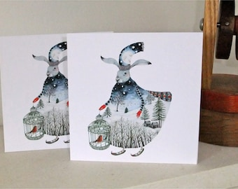 Winter Moon Hare 5x5 Pair of cards