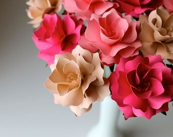 Blush Pink - The Sophia Paper Flower - Handmade Paper Flowers -Set of 15 - On stems - Made to Order - Customize your style and colors