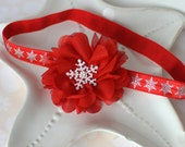 Red Christmas Baby Headband with Silver Snowflakes