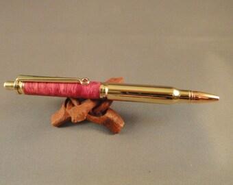 30 Caliber Bullet - Click Pen - Box Elder Burl Wood