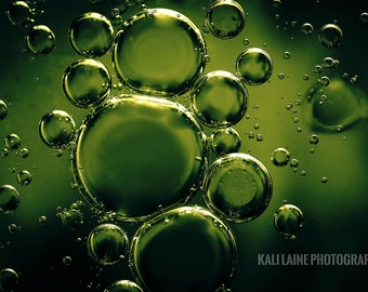 Abstract Green Bubbles -  Fine Art Photography Print, Abstract Art, Abstract Photography, Oil and Water Photography, Art