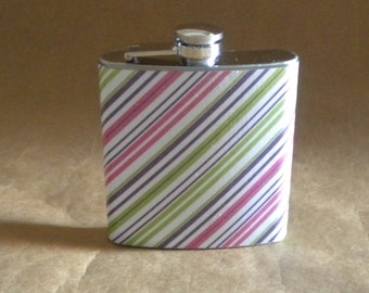 Girly Flask on SALE Purple, Pink, and Green Stripes Print 6 ounce Stainless Steel Girly 21st Birthday Flask KR2D7709