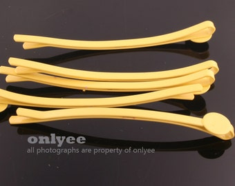14pcs-64mm Bobby Pin Hair Sticks with 8mm Pad-Yellow(E251)