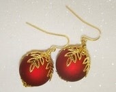 Christmas Ornament Earrings-Red with Gold Leaf