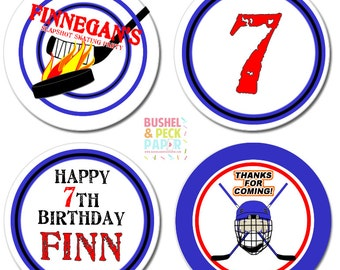 Slapshot Hockey Party #Stickers, Gift #Tags OR Cupcake #Toppers