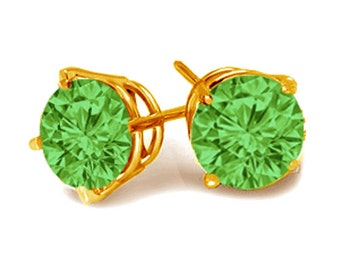 14K yellow gold stud earrings green diamonds