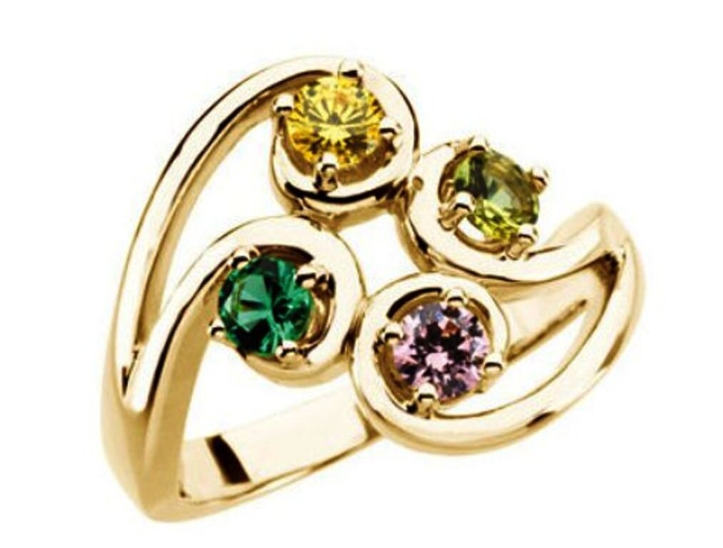 mothers ring design 14kt yellow gold four 4mm stones by