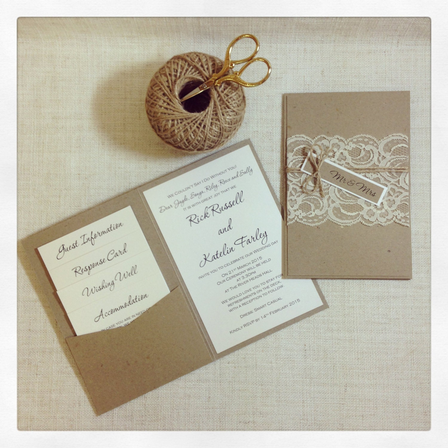Rustic Lace Wedding Invitation Sample