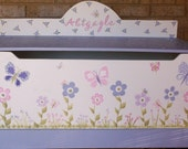 Toy BOX Kids and Baby Chest Lavender Purple Flower BUTTERFLY Nursery Toy Box Hope Chest Bin Storage Custom Hand Painted Kids