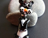 Funny Cat - Handmade Lampwork Focal by Anne Schelling, SRA