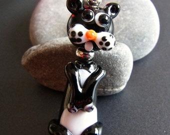 Funny Cat - Handmade Lampwork Focal by Anne Schelling, SRA