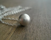 Sterling Silver Single Bead Necklace Gift Idea Collier Perle D'Argent