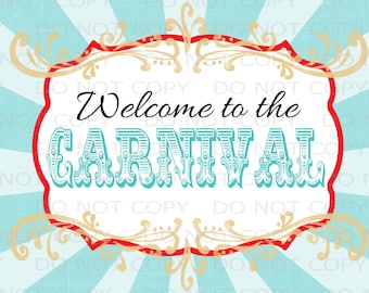 """Printable DIY Vintage Circus Welcome to the Carnival sign - 8.5"""" x 11"""" INSTANT DOWNLOAD"""