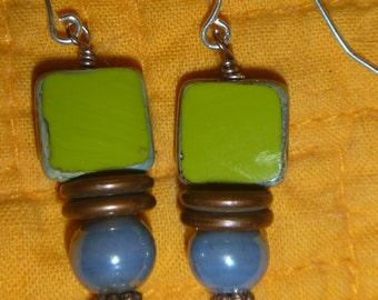 Avocado Czech glass , turquoise czech and fire polished blue bead earrings sterling silver hooks