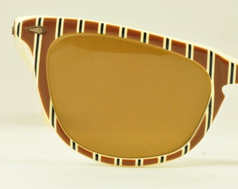 American Optical Vintage Sunglasses, Cosmetan Lenses, Wayfarer Style with Brown Stripes, Ready to Wear!