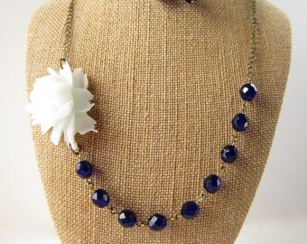 Flower Necklace Navy Blue Necklace Bridesmaid Jewelry Rose Necklace Wedding Jewelry Statement Necklace Garden Wedding Bridesmaid Necklace