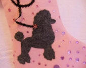 PINK Poodle Dog Handcrafted Christmas Stocking * Best Friend * Puppy Dog * Pink Christmas Stocking * Dog Lovers * Pet Stocking * Chien