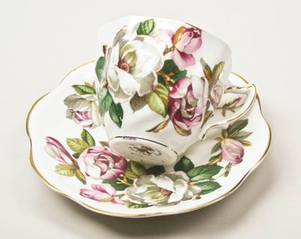 English Bone China Demitasse Espresso Turkish Coffee Tea Cup and Saucer Rosina Queens