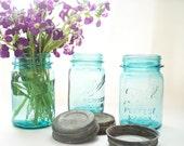 3 Turquoise Blue Mason Jars Wedding Decor Wedding Jar Vase Teal Blue Pint Storage Jars Zinc Lids