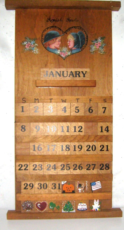 Calendar Wood Amish Folk Art Handmade Perpetual By Cozyattic