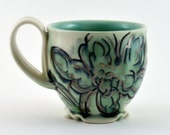 The Perfect Coffee Mug! Green and white porcelain coffee mug/ tea cup with floral decoration and luster