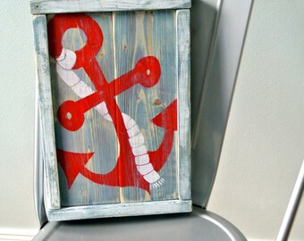 Anchor wood sign