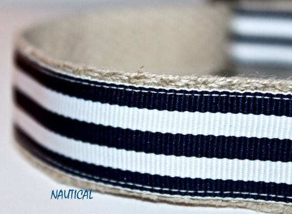 Nautical Stripe Dog Collar, Navy and White Stripe Dog Collar, Adjustable Dog Collar, Dog Collar