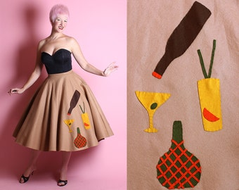 FABULOUS 1950's Cocktail Drinks Theme Wool Felt Beyond Circle Skirt - Wine Bottle, Martini, Tropical Drink, & Wine Jug - Handmade - Size M
