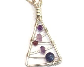 Amethyst Pendant Sterling Silver Necklace Amethyst Necklace Sterling Silver Pendant Minimalist Necklace