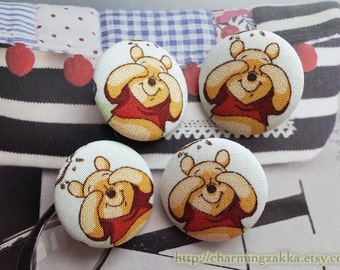 Fabric Covered Buttons (L) - Lovely Winnie The Pooh Playing Games (4Pcs, 1.1 Inch)