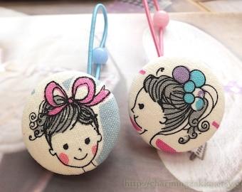 Girl Hair Accessories, Big Hair Tie Button Ponytail Holders - Pink Bow Blue Balloon Ball Ballerina Ballet Dancer Dancing Girl(1 Pair)
