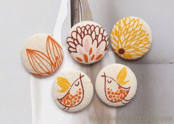 Fabric Covered Buttons (L) - Flying Birds Couple In Blooming Floral Garden, Orange (5Pcs, 1.1 Inch)