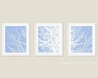 Modern Winter Tree Branches Art Prints - Tree Wall Art - Set of 3 - Blue and White Wall Art - Contemporary Woodland Decor - Tree Triptych