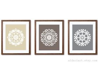 Mandala Art Print Set - Circle Medallion Wall Art - Home Decor - Neutral Colors - Tan Taupe Brown Gray - Rustic Medallion Art - Aldari Art