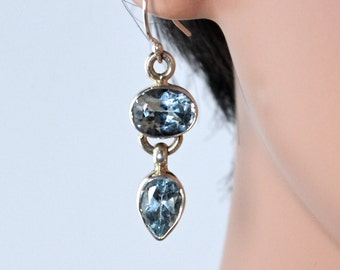 LP 1228  Dazzeling Sterling Silver, Bezeled, Blue Topaz  Drop Earrings