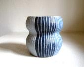 Ceramic Striped Blue Gourd Vase/Planter/Container