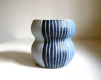 Ceramic Striped Blue Gourd Vase/Planter/Container