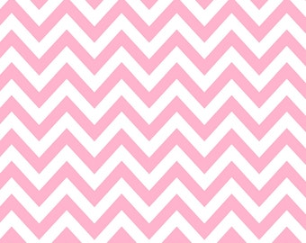 Pink and White Chevron Flannel, 1 Yard