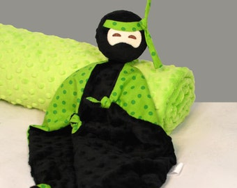 Lovey, Baby Blanket, Black Minky Ninja Security Blanket, Soft Baby Toy, Stuffed Animal