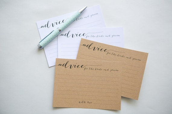 WEDDING ADVICE CARDS | Alternative Wedding Guestbook, Calligraphy, Bride & Groom, Engagement, Well Wishes Cards, Guest Book