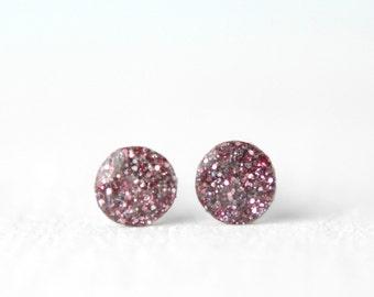 tiny post earrings, pink glitter resin earrings, tiny studs, tiny glitter earrings, tiny silver earrings, pink glitter earring