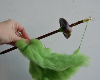 Brown Top Whorl Drop Spindle Wood Deep Dark  Color With Some Lovely Wool - Green Wool