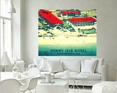 Mid Century Modern Art Motel Print MIAMI MOTEL vintage Florida art mcm Swimming Pool Art red turquoise Beach Art Retro Motel Print