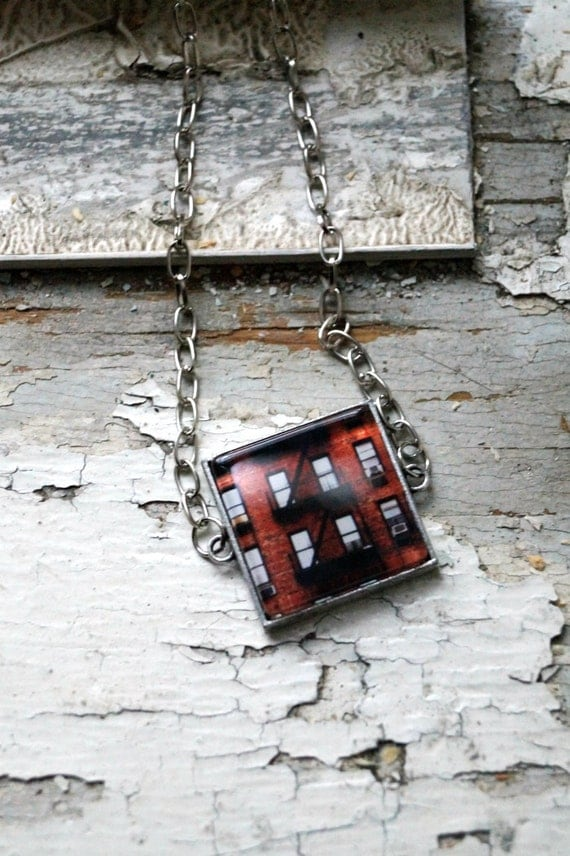New York City Brick Building Photo Jewelry Square Necklace Pendant, NYC Red Apartment Building, Wearable Art