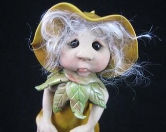 OakenElf 'Sepal' Art Doll Forest Defender OOAK Sculpt by Sculpture Artist Ann Galvin