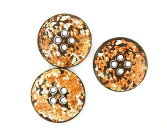 Metal Buttons - White Rust Metal Hole Buttons - 0.67 inch - 10 pcs