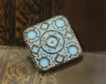 Square Metal Buttons - Round and Square Matrix Blue Patina Metal Shank Buttons - 17mm - 0.67 inch - 2 pcs