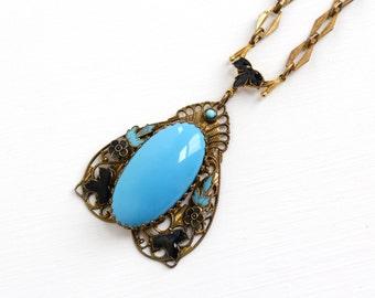 Sale - Vintage Art Deco Simulated Turquoise & Enamel Brass Necklace - 1920s Black, Teal Blue Enamel Flower, Leaf Filigree Costume Jewelry