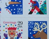 Season's Greetings 12 UNUsed Vintage US Postage Stamps 29 Cents Christmas Reindeer Snowman Jack in the Box Toy Soldier Xmas Save the Date