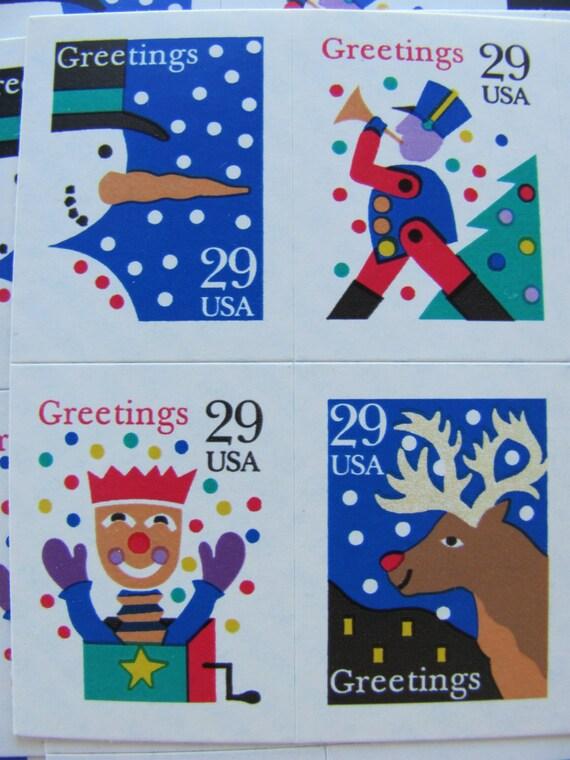 Season's Greetings 12 UNUsed Vintage US Postage Stamps 29 Cents ...